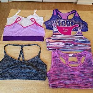 Lot of 6 Girl's Sports Bras, sizes XS-XL